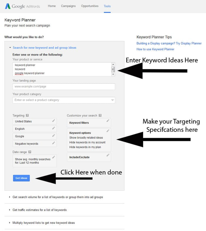 Google Keyword Planner Step 3