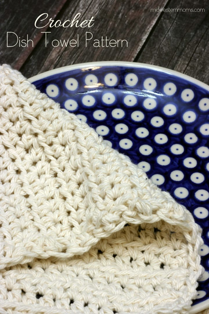 A simple, easy to follow, free crochet dish towel pattern. Includes link to matching crochet dishcloth pattern and more.
