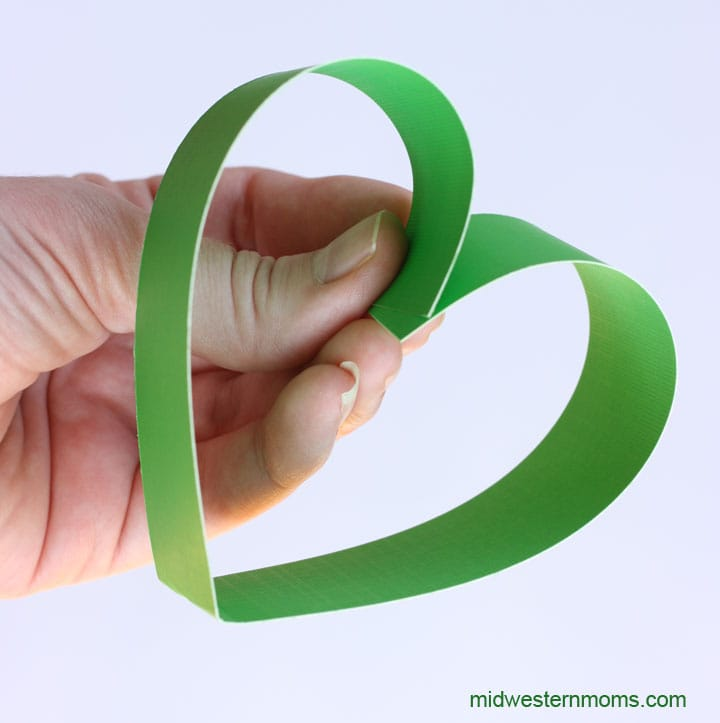 Forming the Heart shape for the Shamrock