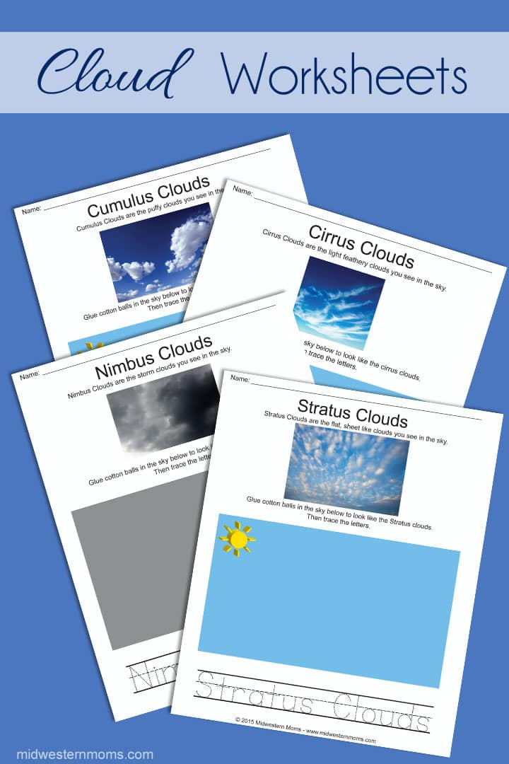 Mom, What type of clouds are those? Four fun worksheets for Preschoolers to learn the types of clouds.