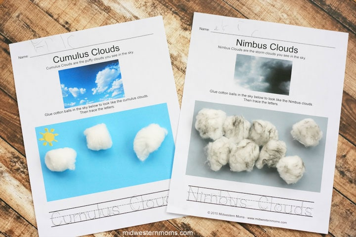 Four types of clouds preschool worksheets midwestern moms