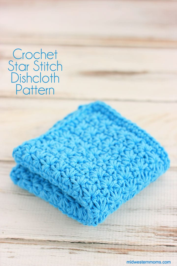 Knitted Dishcloth Pattern With Star : Crochet Dishcloth Patterns: Star Stitch Crochet Dishcloth