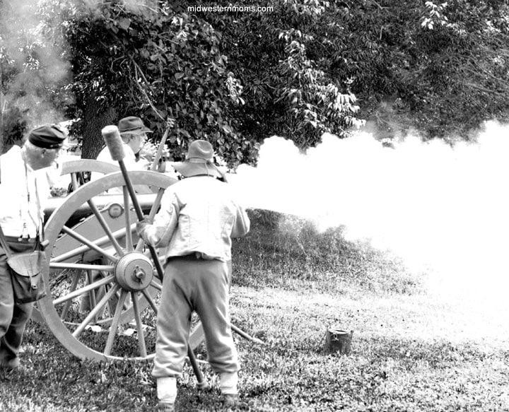 Civil War Cannon Being Shot