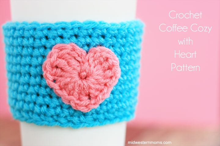 Free #crochet Coffee Cup Cozy & Heart Pattern