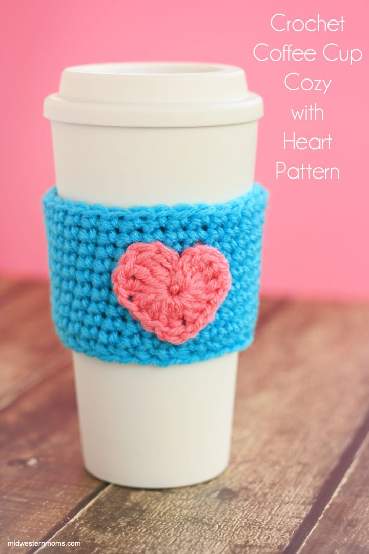 Crochet Coffe Cup Cozy Pattern with heart