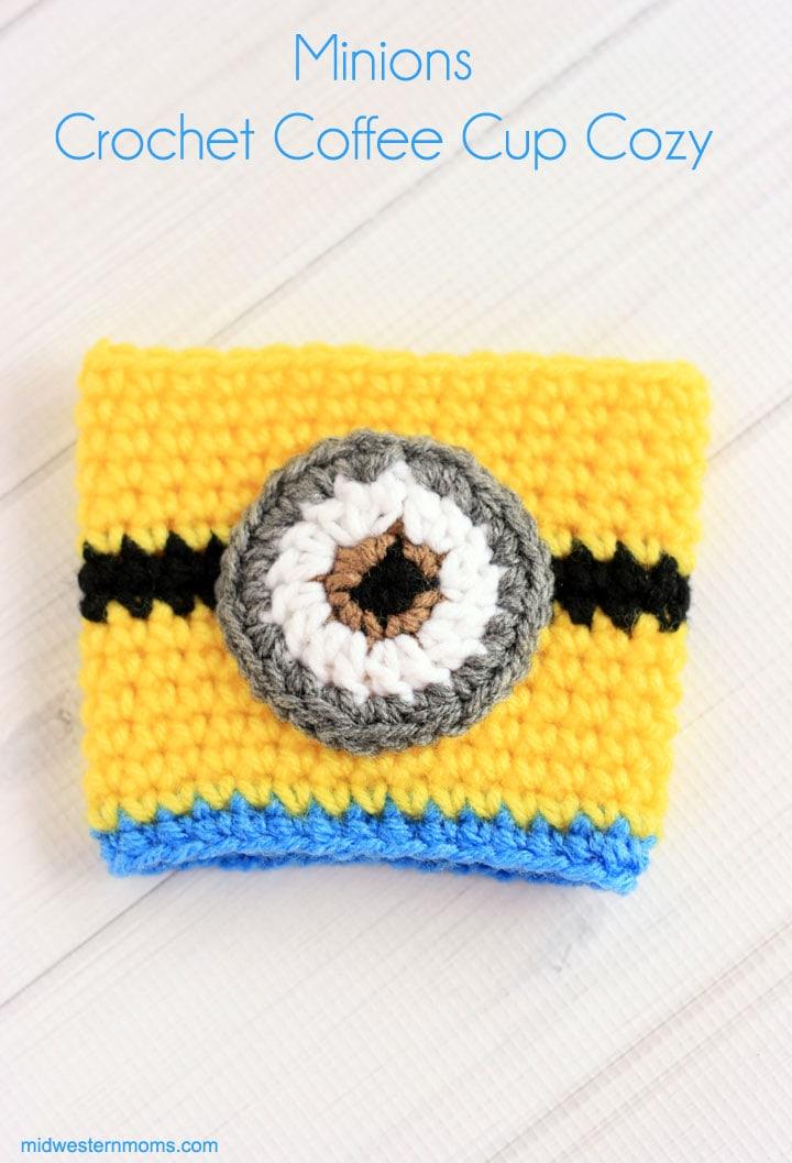 Minion Crochet Coffee Cup Cozy Pattern