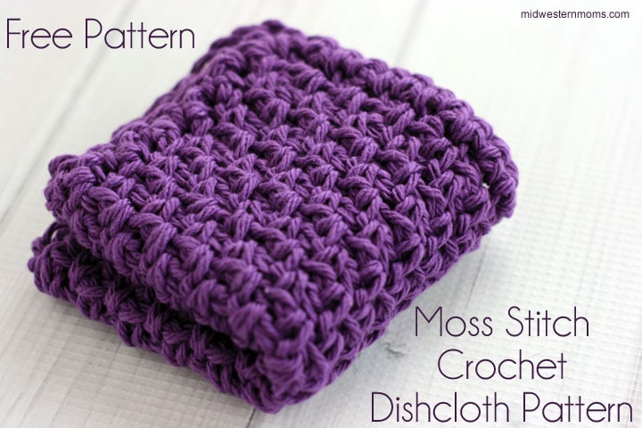 Moss Stitch Crochet Dishcloth Pattern Midwestern Moms