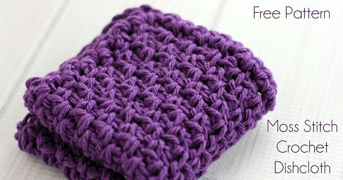 Moss Stitch Crochet Dishcloth Pattern - Midwestern Moms