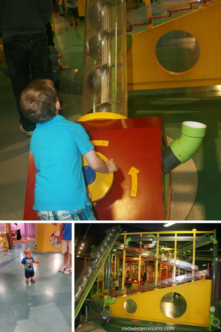 Playing in the ball room at the Omaha Children's Museum