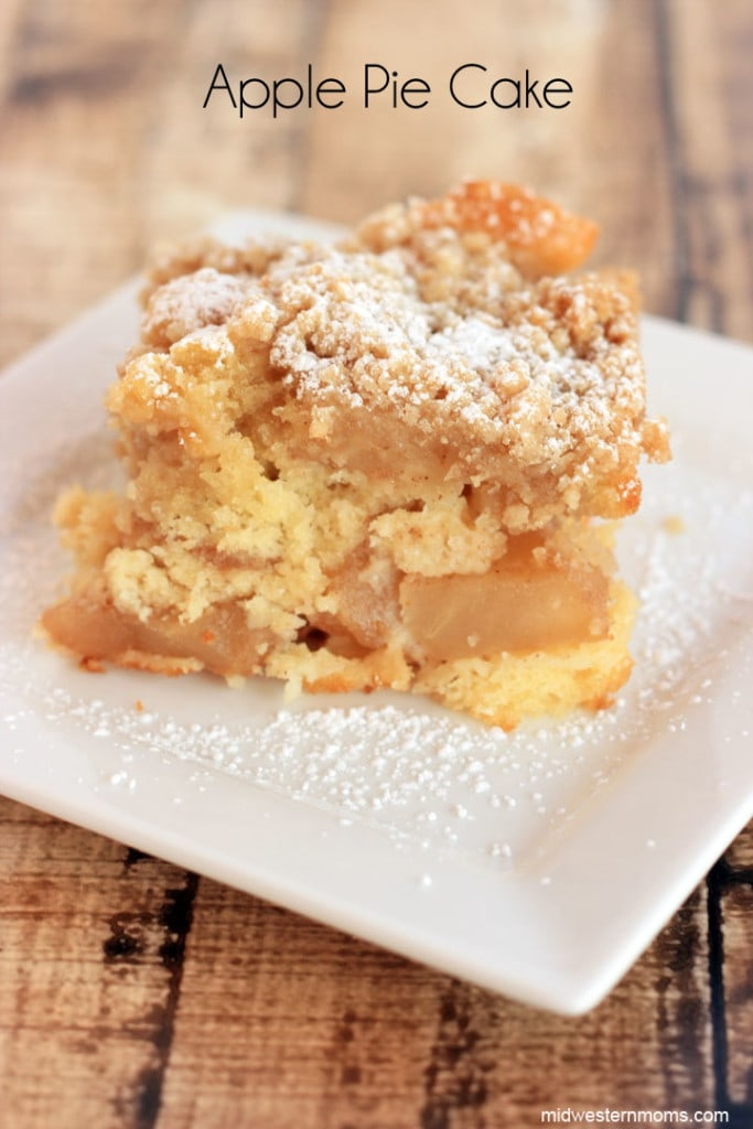 This apple pie cake recipe turned out to be pretty tasty. It is the best of both worlds, pie and cake together! I think my favorite part is the topping. I love the crunchy with the softness of the cake. I also liked to top the apple pie cake with a little bit of powered sugar.