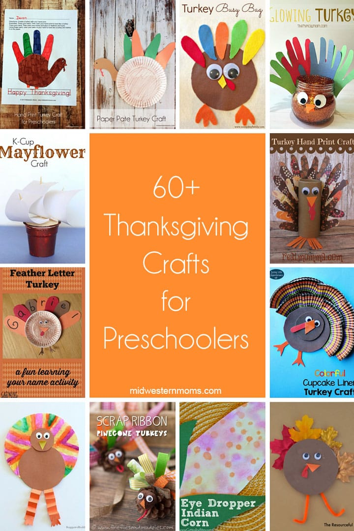 60+ Thanksgiving Crafts for Preschoolers. Includes handprint turkey crafts, turkey crafts for preschoolers, and so much more!