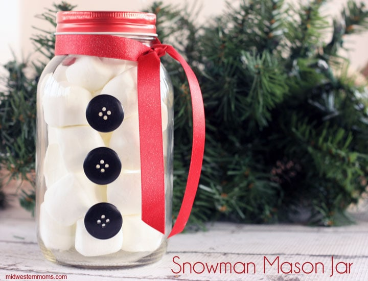 Simple Snowman Mason Jar Craft. Add your favorite treats to complete the snowman.
