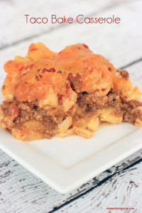 Taco Bake Casserole Recipe. Tasty combination of Taco and Macaroni and Cheese. Your family won't be able to get enough of this!