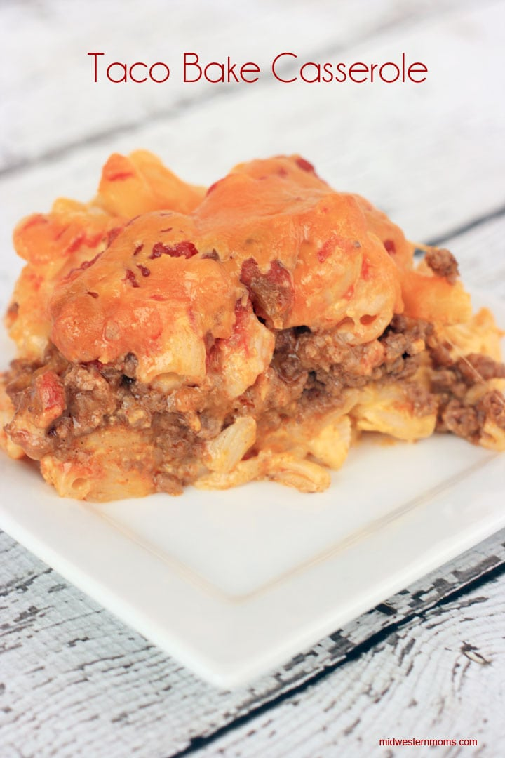 Taco Bake Casserole Recipe. Tasty combination of Taco and Macaroni & Cheese. My family couldn't get enough of this recipe! Will be making this dinner again!