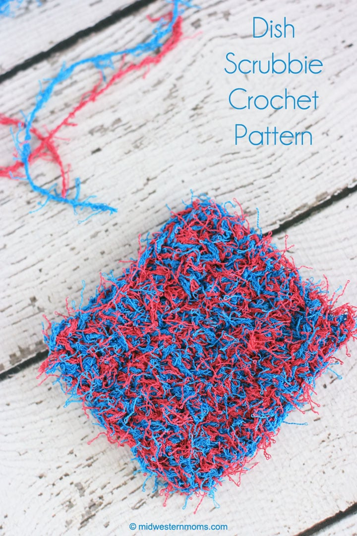 Easy dish scrubbie crochet pattern! No tulle or netting needed with this pattern!