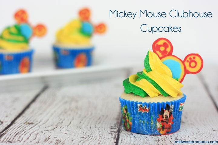Easy Mickey Mouse Clubhouse cupcakes recipe complete with Toodles! Perfect for a little one's birthday!