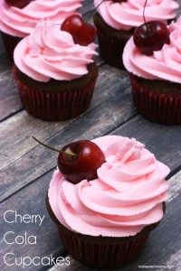 Cherry Cola Cupcakes Recipe. The soda gives the cupcakes a slight cherry flavor while enhancing the chocolate. Top with cherry buttercream frosting and a fresh cherry!