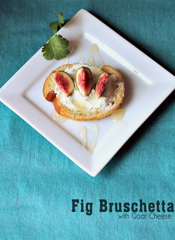 An Easy bruschetta recipe with fresh figs, goat cheese, and honey. The honey adds the perfect amount of sweetness to counteract the bitterness of the goat cheese.