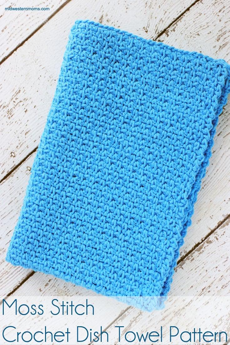 Moss Stitch Crochet Dish Towel Pattern