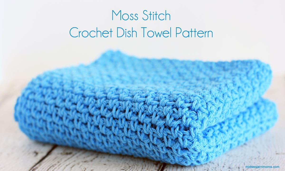 Moss Stitch Crochet Dish Towel Pattern - Midwestern Moms