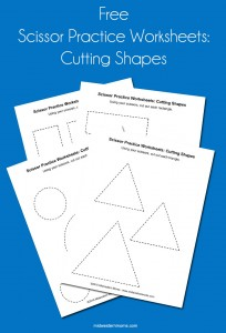 Free Scissor Practice Worksheets - Cutting shapes. Help your child learn how to use scissors before going to school!