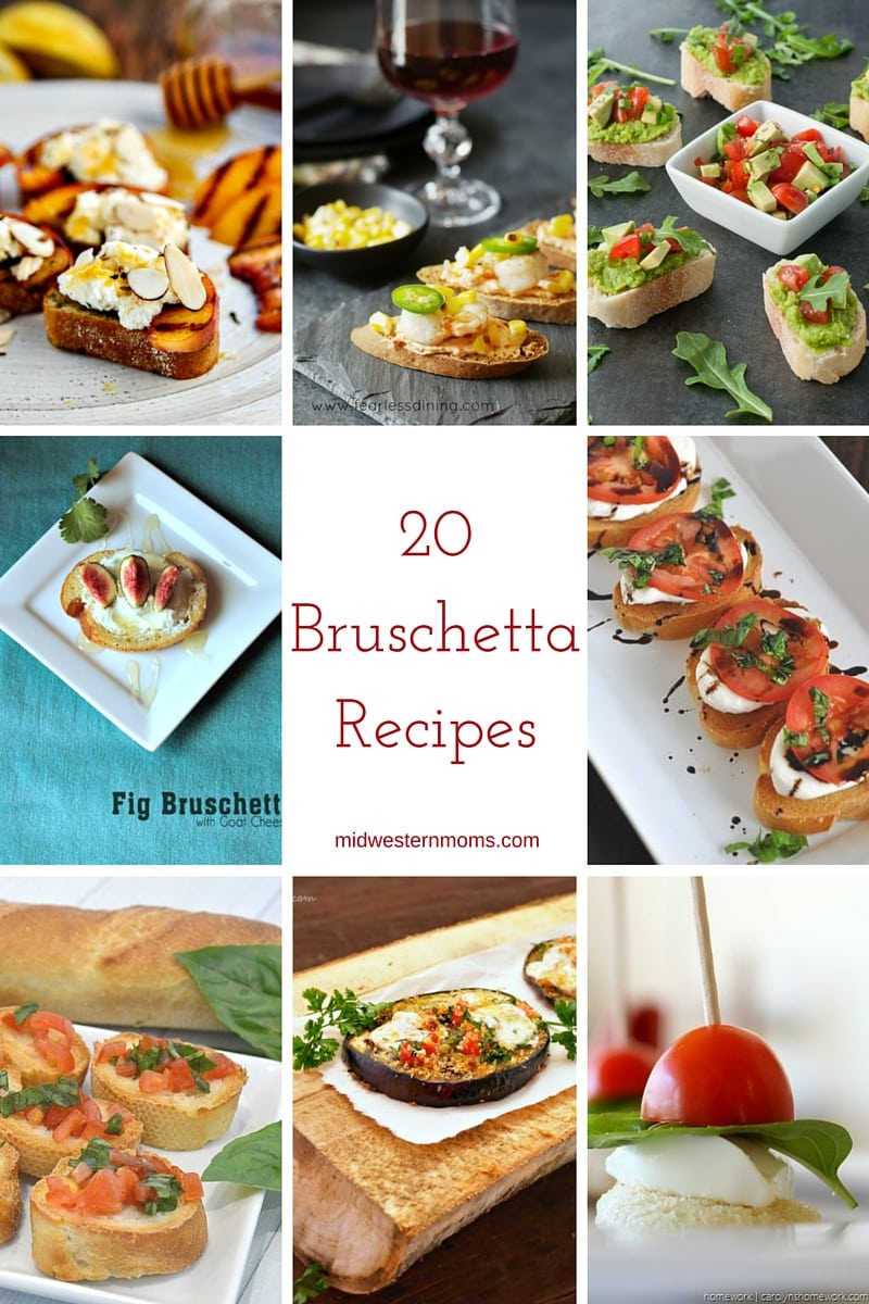 Find 20 different Delicious Bruschetta Recipes! You will have a hard time choosing just one recipe to make!
