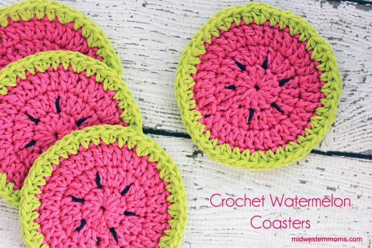 Crochet Patterns Using Peaches And Cream Yarn : Crochet Watermelon Coasters Pattern - Midwestern Moms