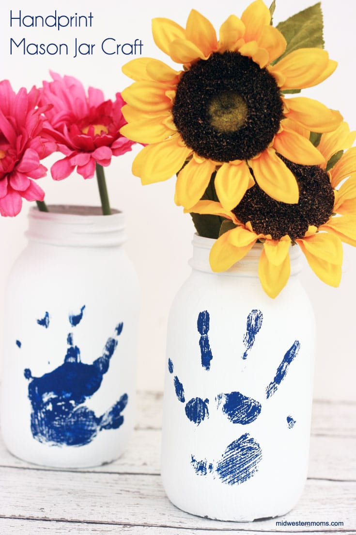 Handprint Mason Jar Craft. Perfect for a gift or keepsake.