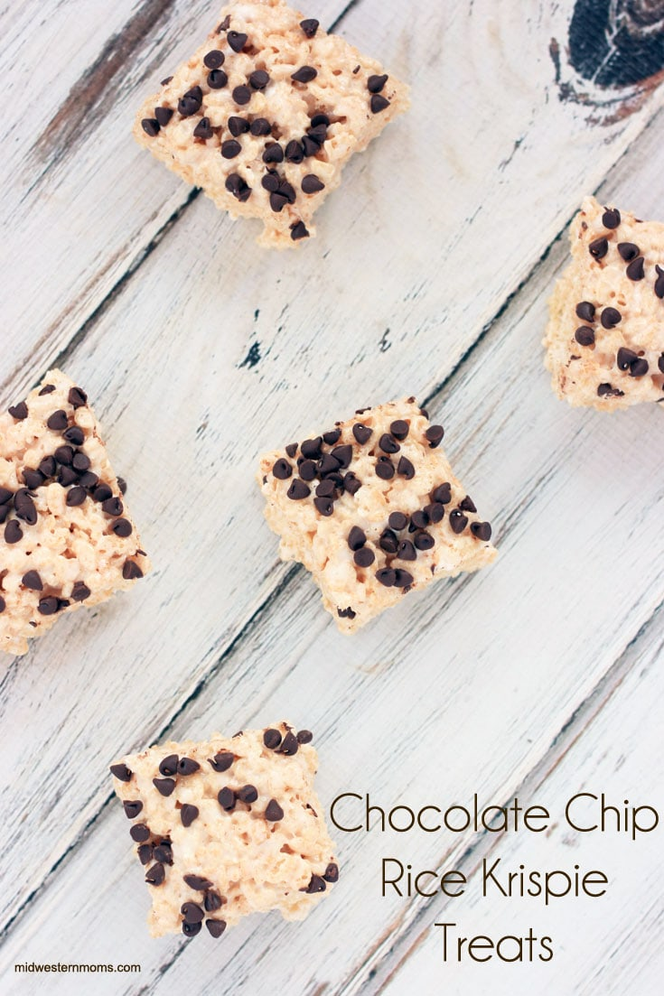 Delicious gooey rice krispie treats topped with mini chocolate chips area perfect dessert for the family.
