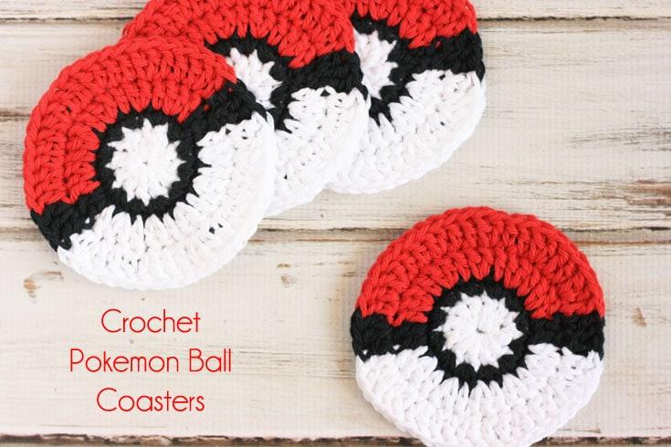 Crochet Pokeball Coaster Pattern