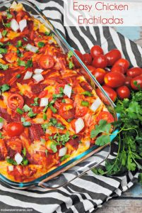A deliciously easy chicken enchiladas recipe using rotisserie chicken.