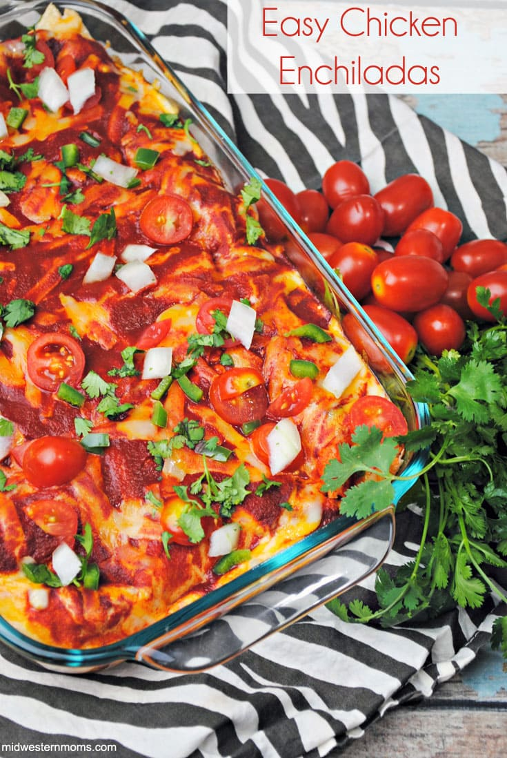A deliciously easy chicken enchiladas recipe using rotisserie chicken.