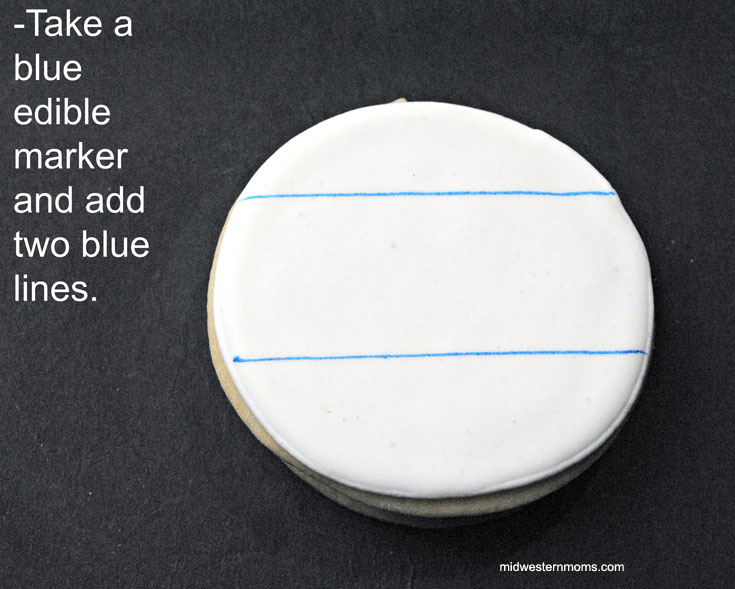 Step 2 in decorating these cookies: Adding Guidelines