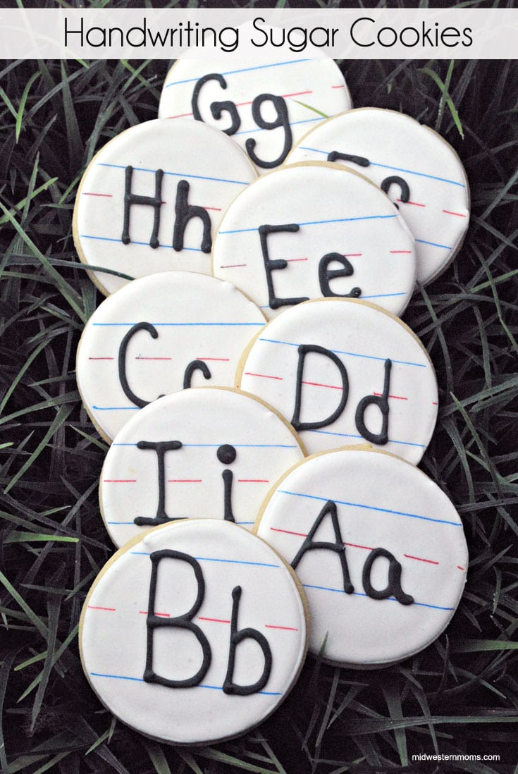 Super cute handwriting sugar cookies perfect for Back-to-School or Teachers gifts!