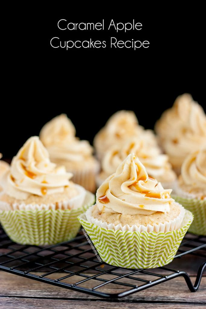 Delicious Apple Cupcakes with Caramel Buttercream frosting and a drizzling of caramel.