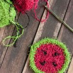 Simple crochet watermelon scrubbie pattern.