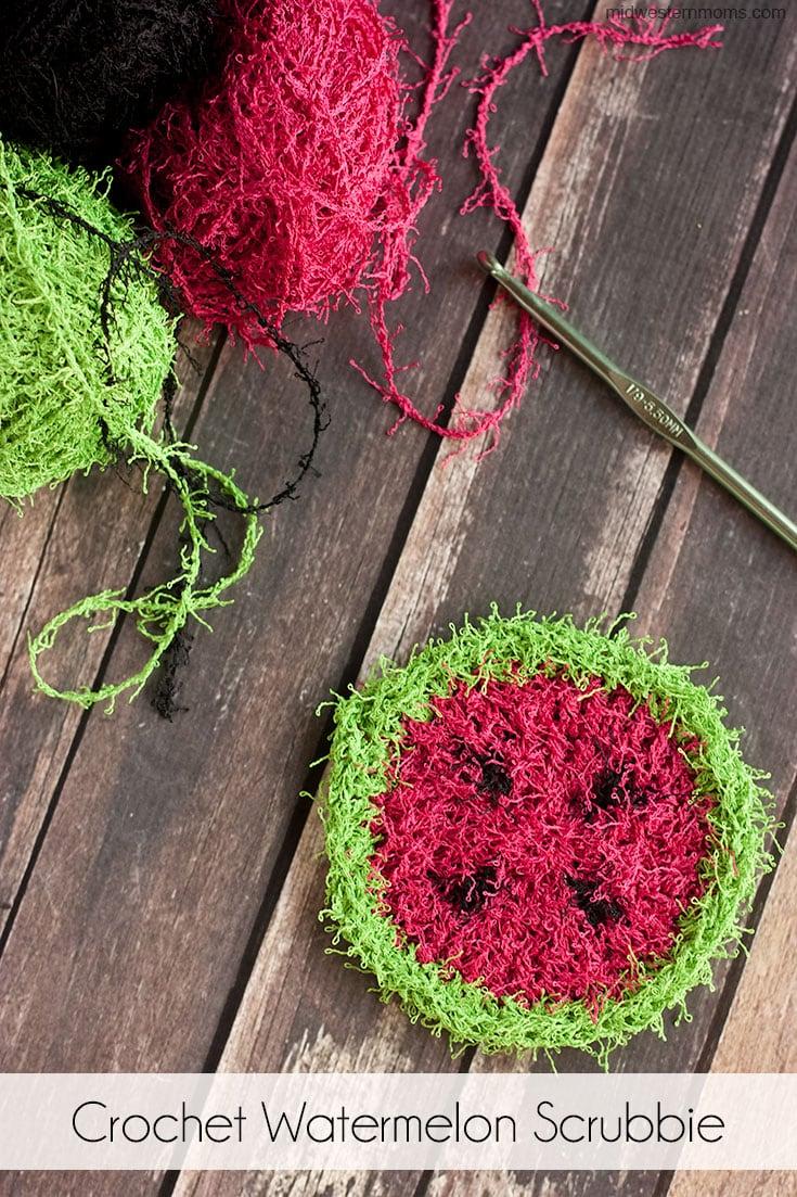 Simple crochet watermelon scrubbie pattern.