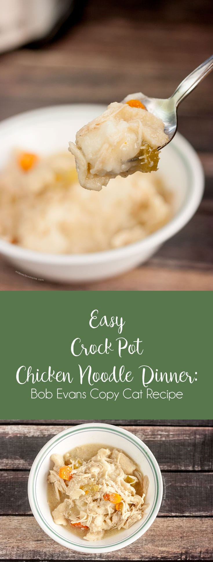 Easy crock pot chicken noodle dinner (Bob Evans Copy Cat recipe). The perfect comfort food.