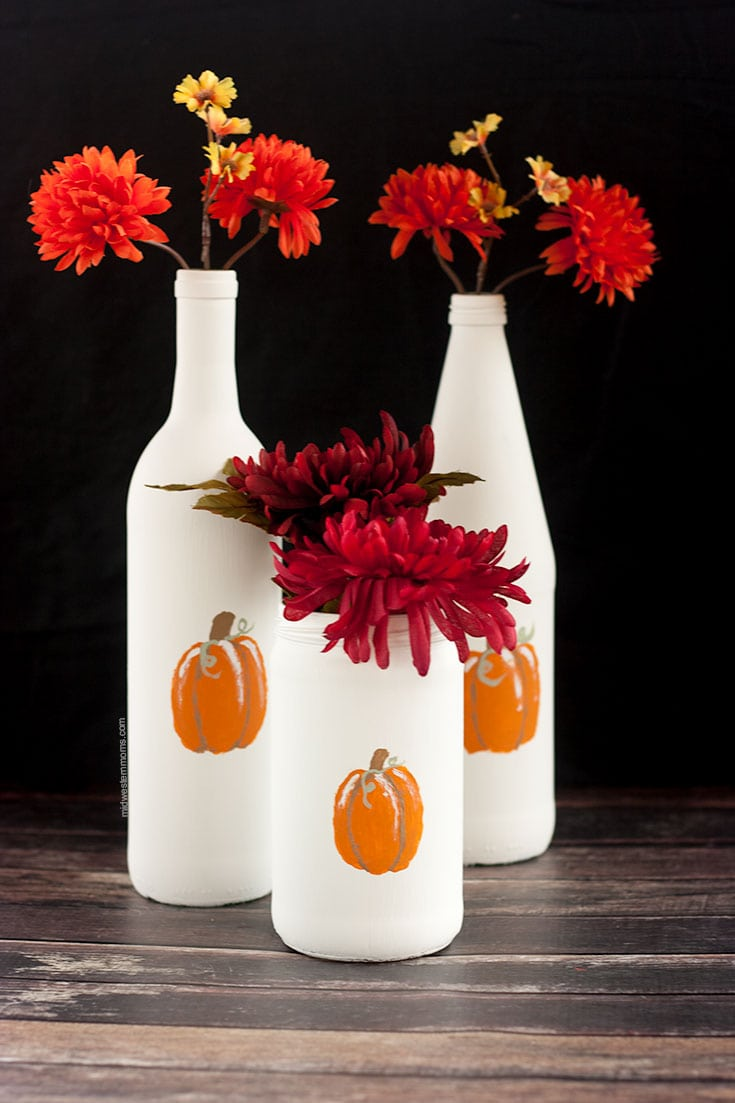 Simple DIY painted pumpkins bottles