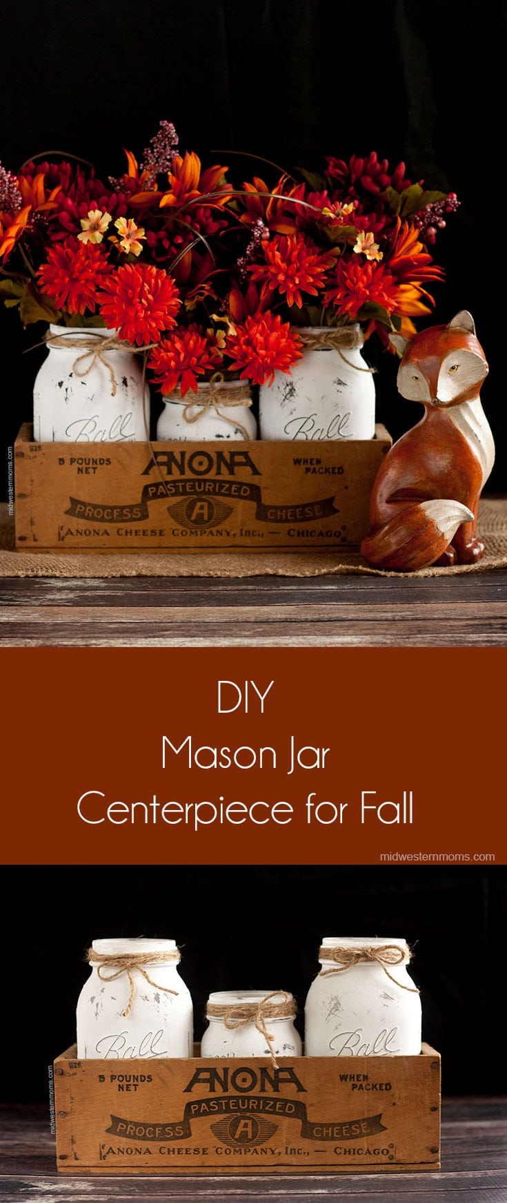 The perfect fall centerpiece using mason jars! Simple to make and it looks gorgeous! Easy to customize to each season or holiday.