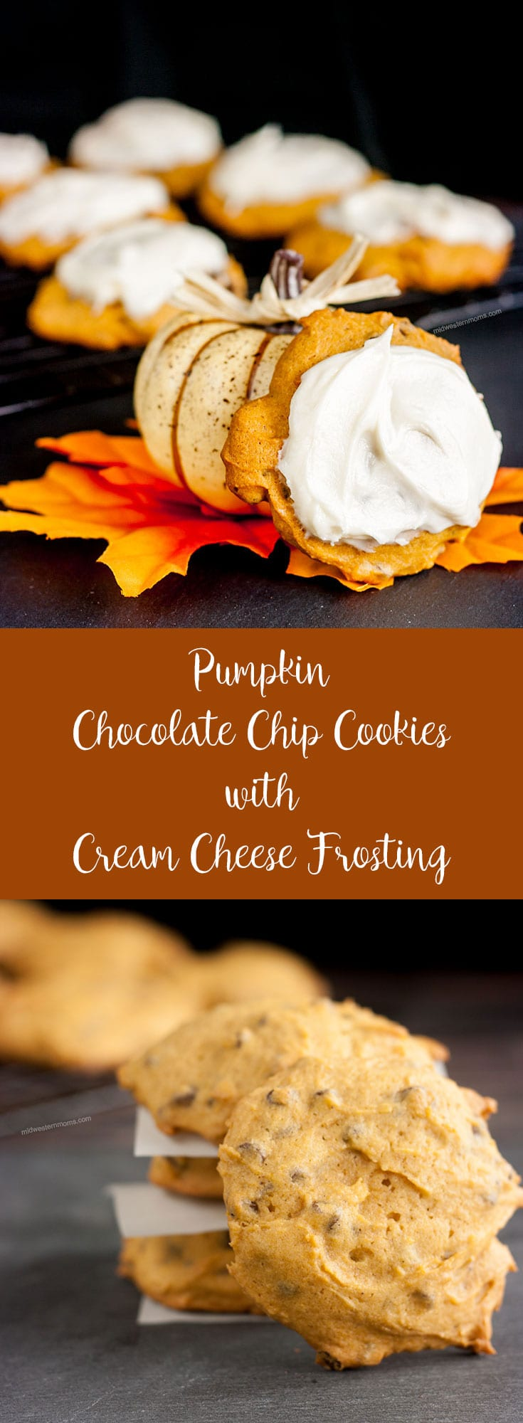 Pumpkin Chocolate Chip Cookies Recipe. Delicious with or without homemade cream cheese frosting.