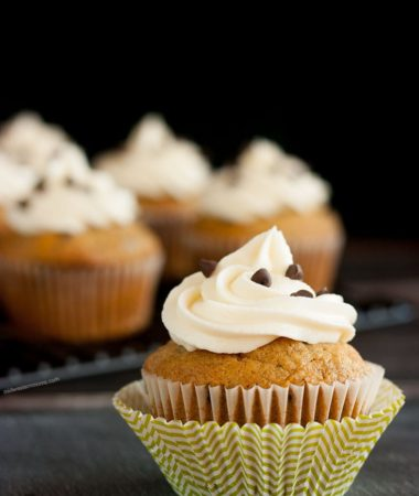 Delicious pumpkin chocolate chip cupcakes with homemade cream cheese frosting