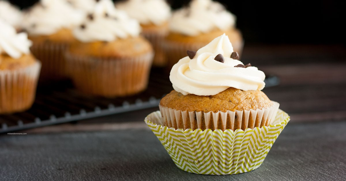Pumpkin Chocolate Chip Cupcakes with homemade cream cheese frosting