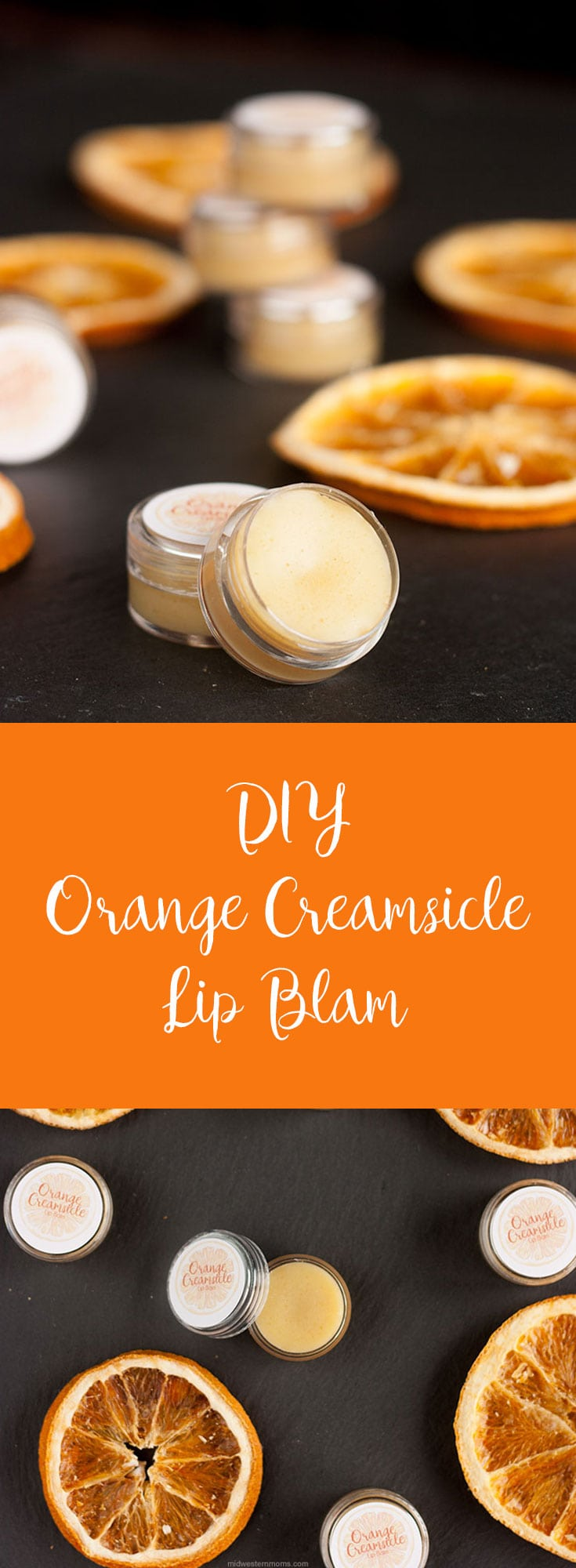 Easy to make Orange Creamsicle Lip Balm. Simple recipe to help soothe your chapped lips.