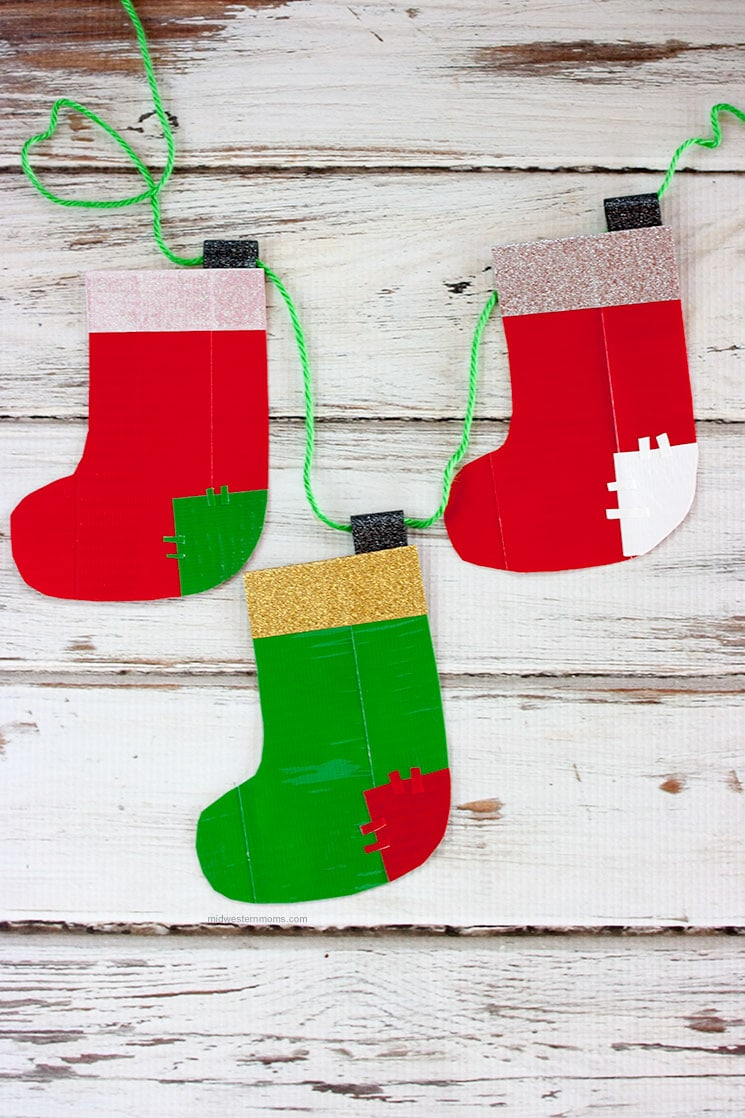 Cute Christmas Stocking garland made with Duck Tape!