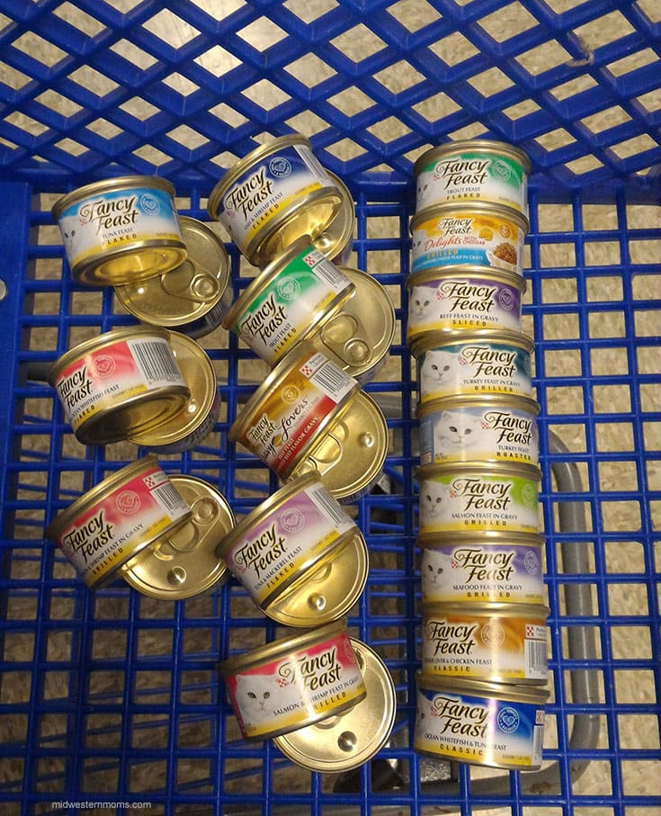 Stocking up on Fancy Feast at PetSmart