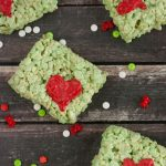Grinch Rice Krispie Treat Recipe. Perfect treats for a How The Grinch Stole Christmas movie night!