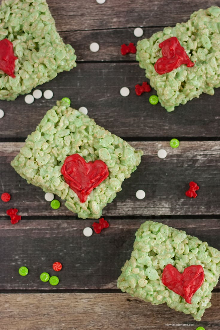 Grinch Rice Krispie Treats Recipe. Delicious and gooey treats perfect for a How The Grinch Stole Christmas movie night.