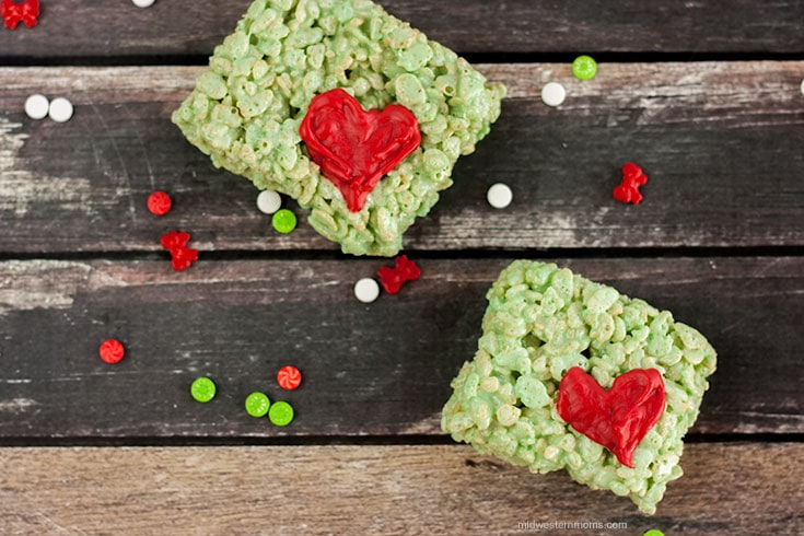 Grinch Rice Krispie Treats perfect for a How The Grinch Stole Christmas movie night.