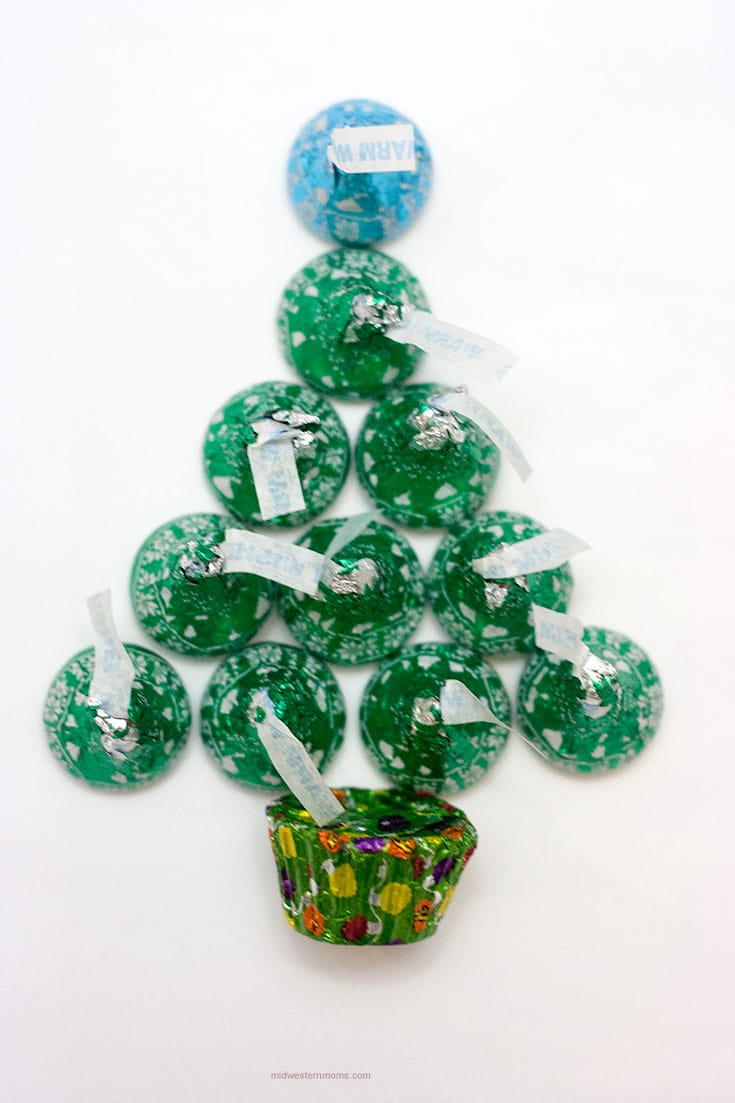 Arranging the candies into a Christmas Tree Shape